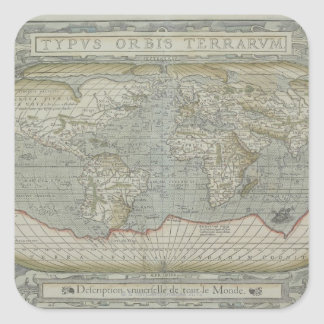 Map of the World 12 Square Sticker