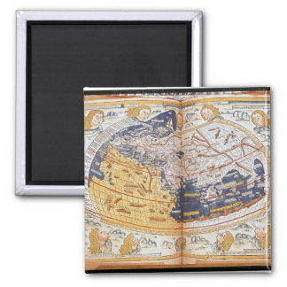 Map of the world, 1486 square magnet