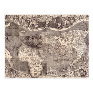 Map of the World   1507 Postcard