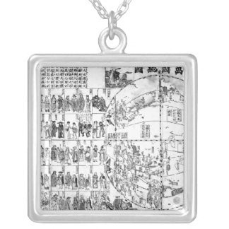 Map of the World, 1671 Silver Plated Necklace