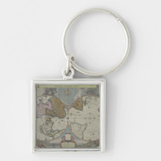 Map of the World 16 Silver-Colored Square Key Ring