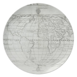 Map of the World 17 Dinner Plates