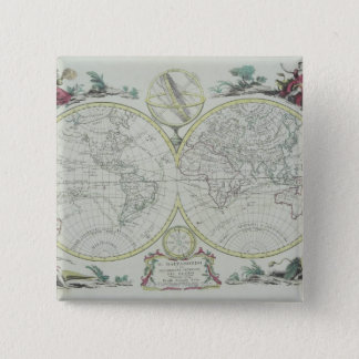 Map of the World 18 15 Cm Square Badge