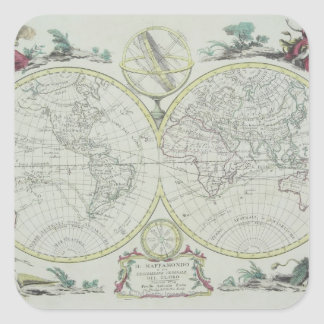 Map of the World 18 Square Sticker