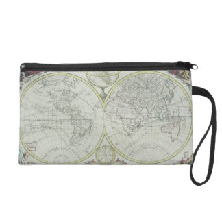 Map of the World 18 Wristlet Clutch