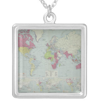 Map of the World 20 Silver Plated Necklace