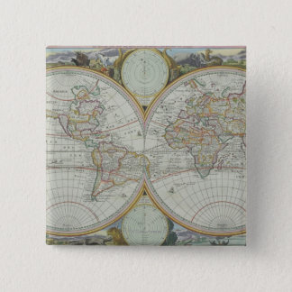 Map of the World 21 15 Cm Square Badge