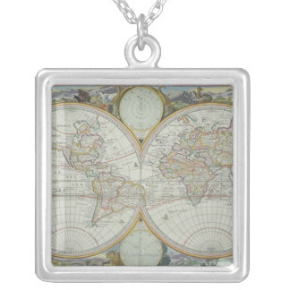 Map of the World 21 Silver Plated Necklace