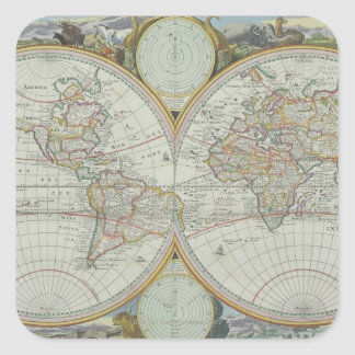 Map of the World 21 Square Sticker