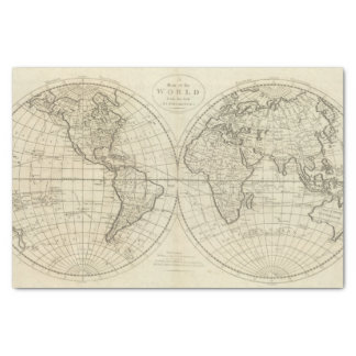 Map of the World 2 2 Tissue Paper