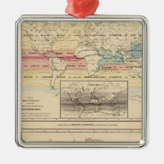 Map of The World 2 Silver-Colored Square Decoration