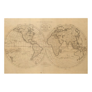 Map of the World 2 Wood Print