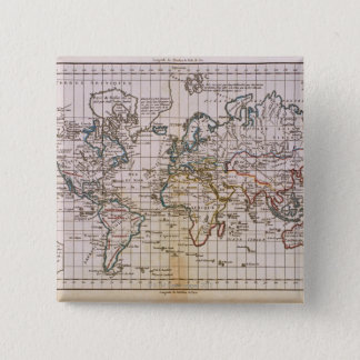 Map of the World 3 15 Cm Square Badge