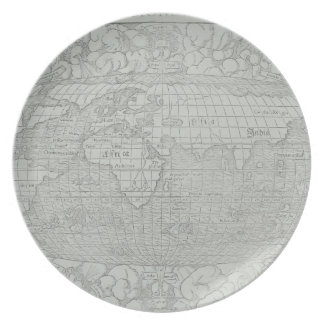 Map of the World 5 Dinner Plates
