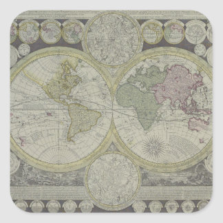Map of the World 7 Square Sticker