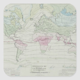 Map of the World 8 Square Sticker
