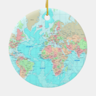 Map of the world christmas ornament
