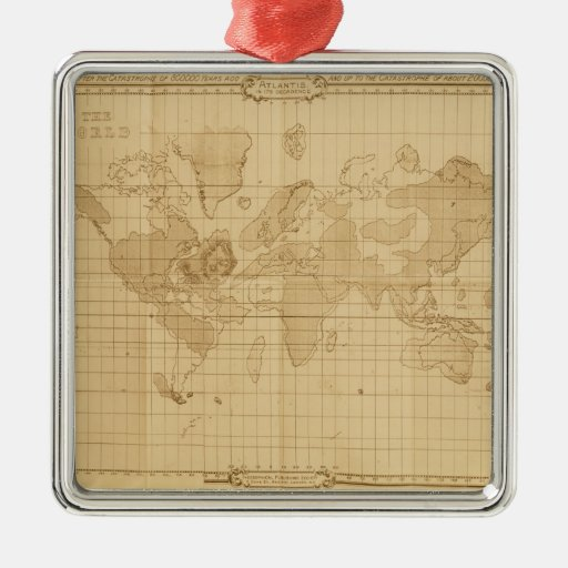 Map of the world christmas tree ornament