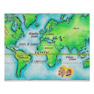 Map of the World & Equator Poster
