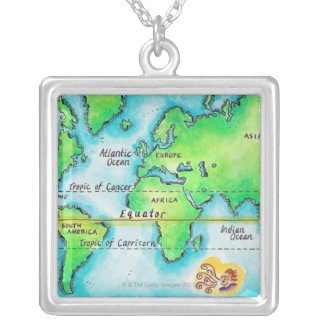 Map of the World & Equator Silver Plated Necklace