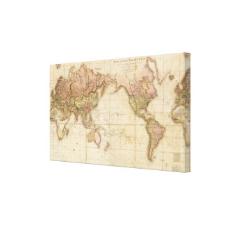 Map of the world gallery wrap canvas