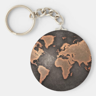 Map of the world key ring