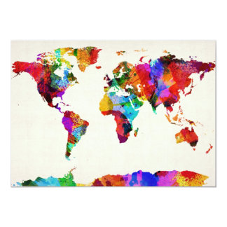 Map of the World Map Abstract Painting 13 Cm X 18 Cm Invitation Card