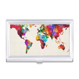 Map of the World Map Abstract Painting Business Card Holder