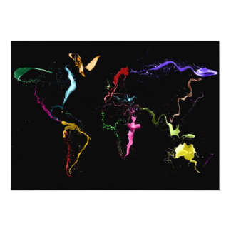 Map of the World Map Dark Abstract Painting 13 Cm X 18 Cm Invitation Card