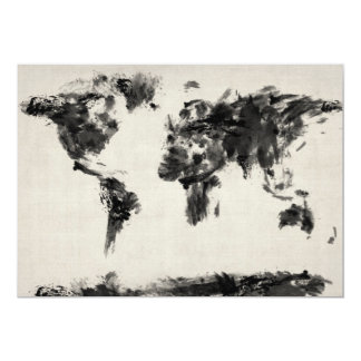 Map of the World Map Dark Abstract Painting Card