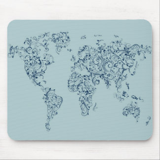 Map of the World Map Floral Swirls Mouse Mat