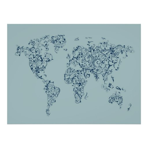 Map of the World Map Floral Swirls Print