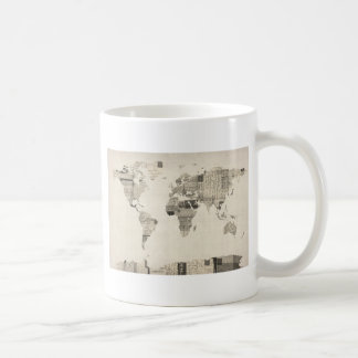 Map of the World Map from Old Postcards Basic White Mug