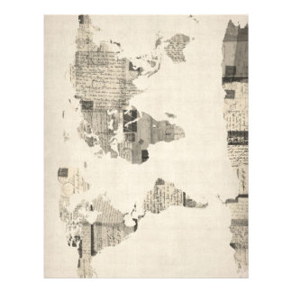 Map of the World Map from Old Postcards 21.5 Cm X 28 Cm Flyer