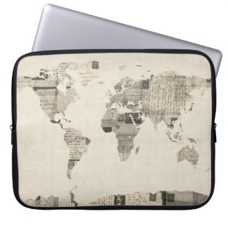 Map of the World Map from Old Postcards Computer Sleeve