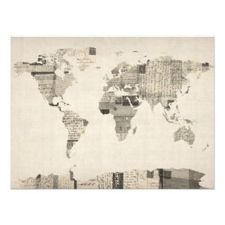 Map of the World Map from Old Postcards Photo Print