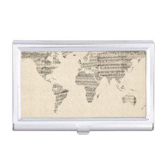 Map of the World Map from Old Sheet Music Business Card Holder