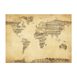 Old sheet music wrapped canvas prints zazzle map of the world map from old sheet music canvas print gumiabroncs Gallery