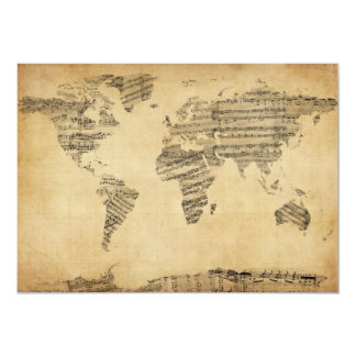 Map of the World Map from Old Sheet Music Card