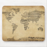 Map of the World Map from Old Sheet Music Mousepads