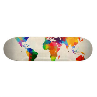 Map of the World Map from Old Sheet Music Custom Skateboard