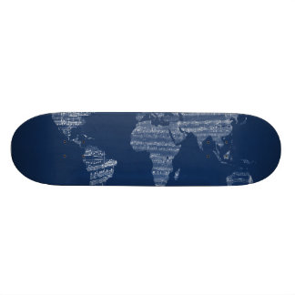 Map of the World Map from Old Sheet Music Skateboard Deck