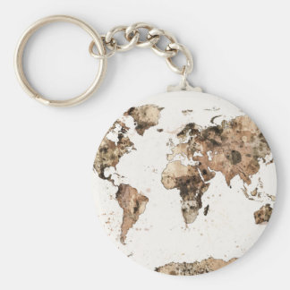 Map of the World Map Sepia Watercolor Key Ring