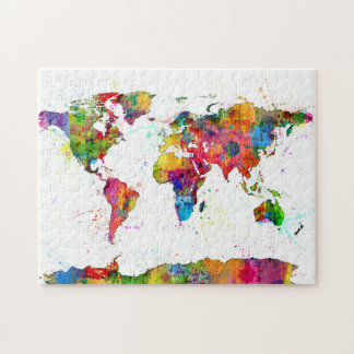 Map of the World Map Watercolor Jigsaw Puzzle