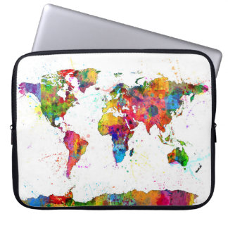 Map of the World Map Watercolor Laptop Computer Sleeves