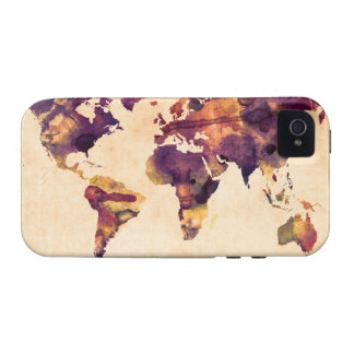 Map of the World Map Watercolor Painting iPhone 4/4S Covers