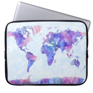 Map of the World Map Watercolor Painting Laptop Computer Sleeves