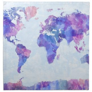Map of the World Map Watercolor Painting Napkin