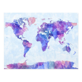 Map of the World Map Watercolor Painting Postcard