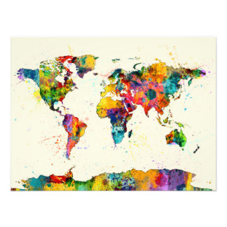 Map of the World Map Watercolor Photo Print